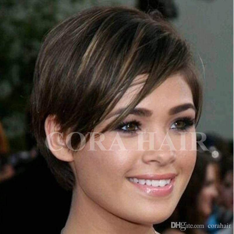 100 Human Natural Hair Fashion Long Bangs Pixie Cut Black Hair Wigs