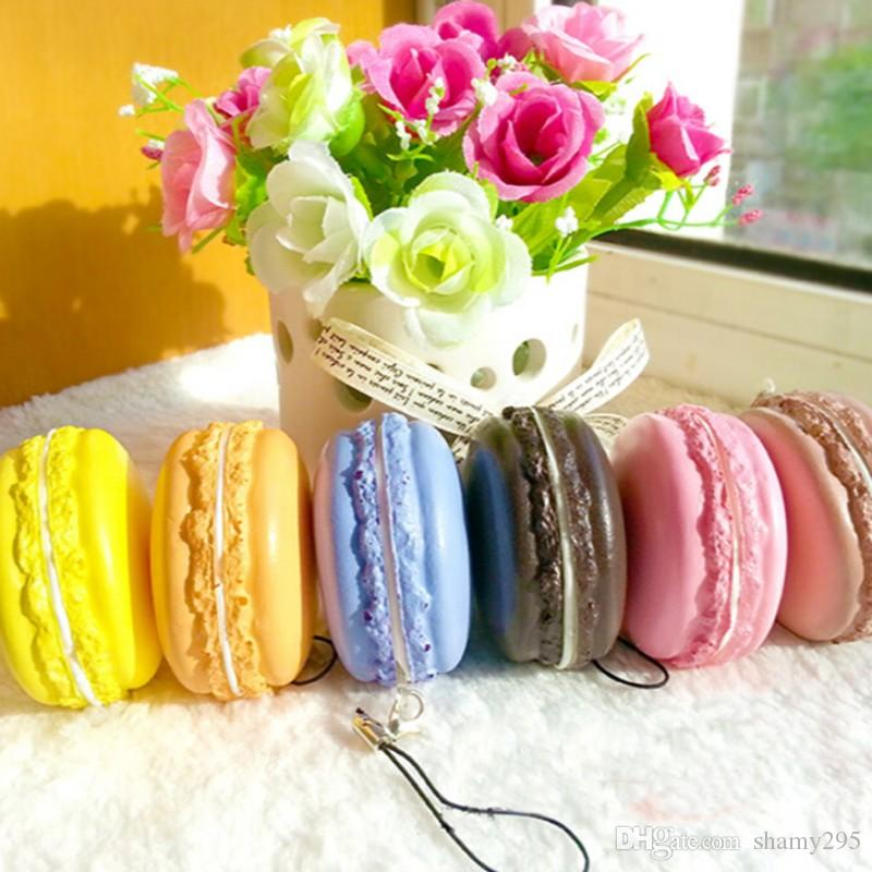 Kawaii Soft Dessert Macaron Squishy Cute Cell phone Charms Key Straps random color whoesales high quality 2018 new hot