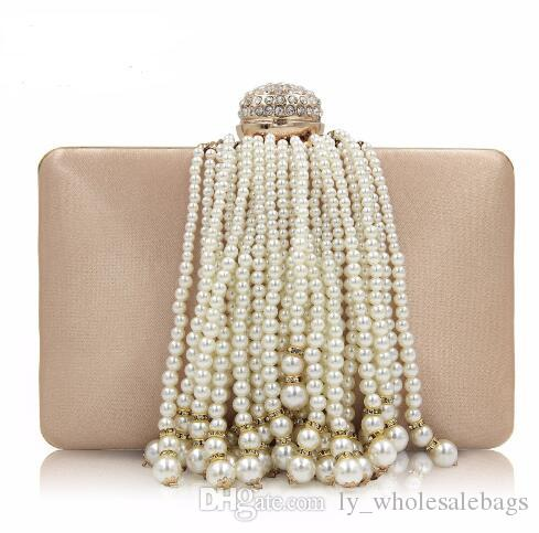 2018 New Pearl Tassel Female Beaded Bags Ladies Gold Wedding Purses ... fc0c5f353a20