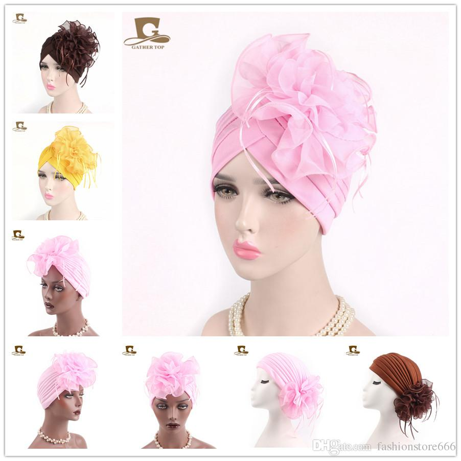 229f85f1e0c Women Flower Ruffle India Turban Beanie Head Scarf Wrap Chemo Cap Hat For Cancer  Patient Bandana Female Hair Accessories Black Baseball Cap Knitted Hats ...