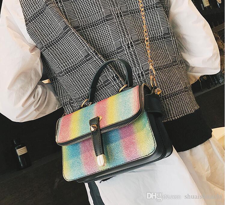 Women's Bags. PU. Creative rainbow sequins. Small. Leisure fashion handbag. Mini. Cross Body.Shoulder Bags.Totes. designer handbags. AF293.