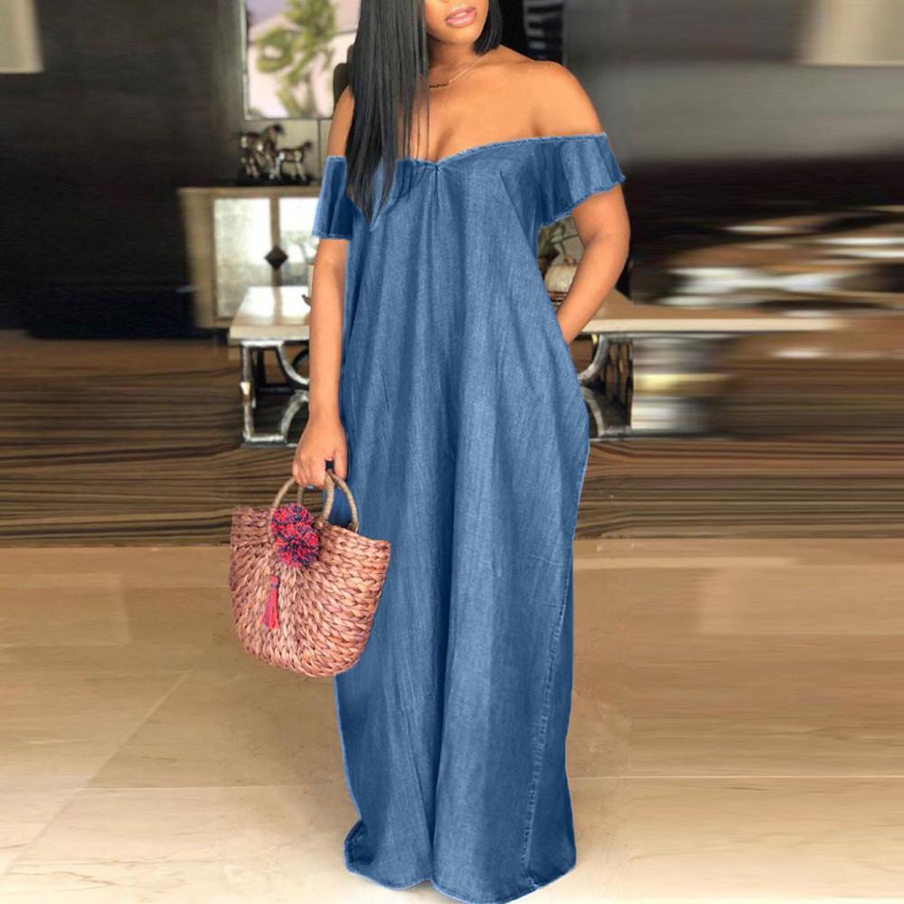 Compre Moda Mujer 2019 Mujeres Vestido Sólido De Vacaciones Vaquero Fuera  Del Hombro Vestido De Mezclilla Suelta Playa De Verano Vestidos Largos  Vestidos De ... f573dff8e6e0