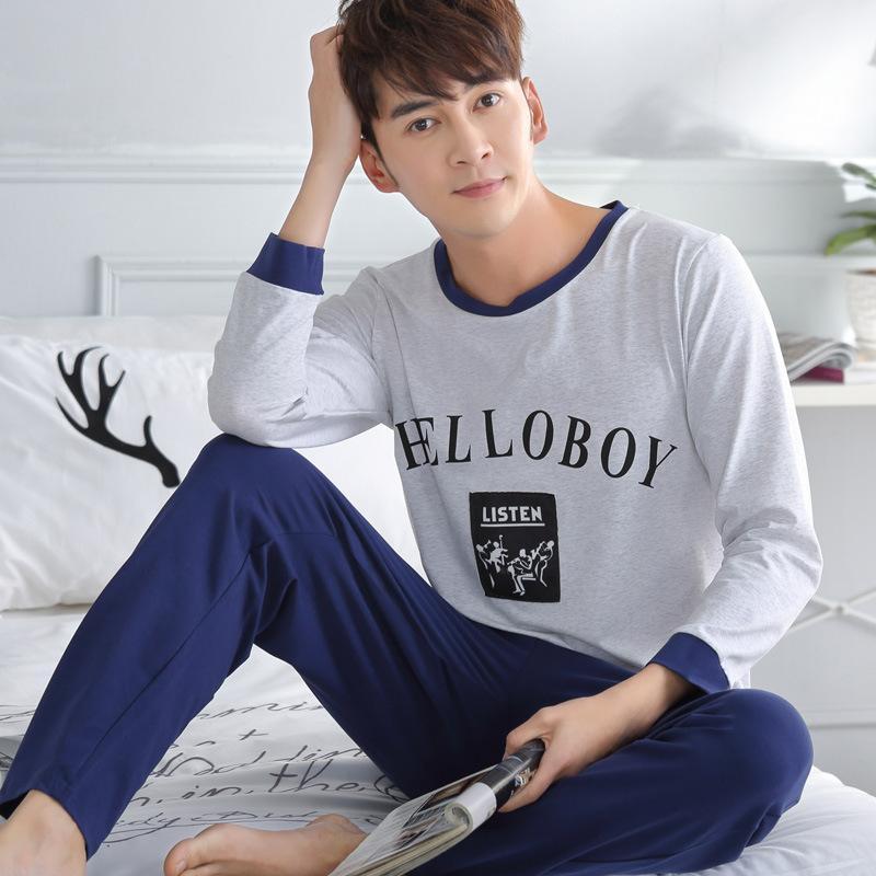 Male Pajamas Set Autumn Winter Long Sleeve Pants Home Pyjama Cotton Men Sleepwear