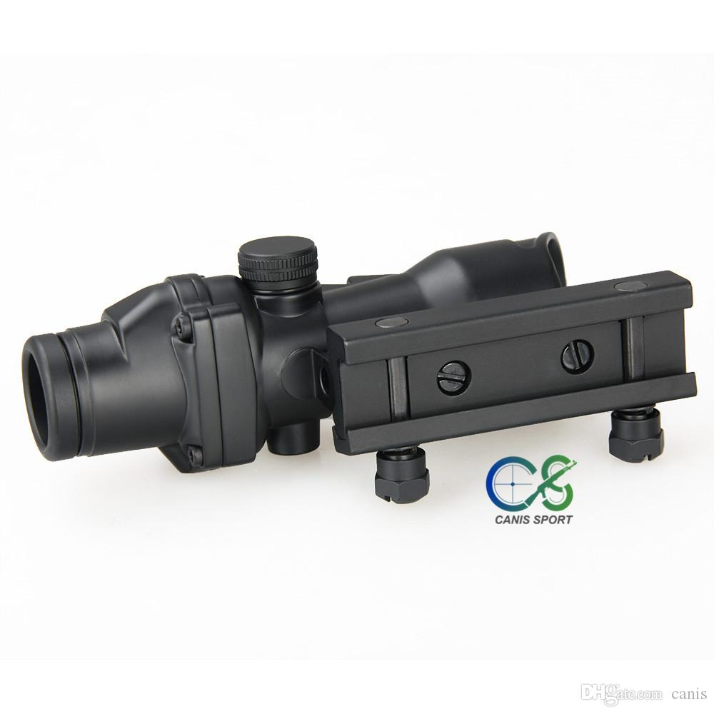 PPT 4X32 Style Optical Tactical Scope Real Fiber Optic Red Crosshair Real Red or Green Fiber Source Duel Illuminated CL1-0166