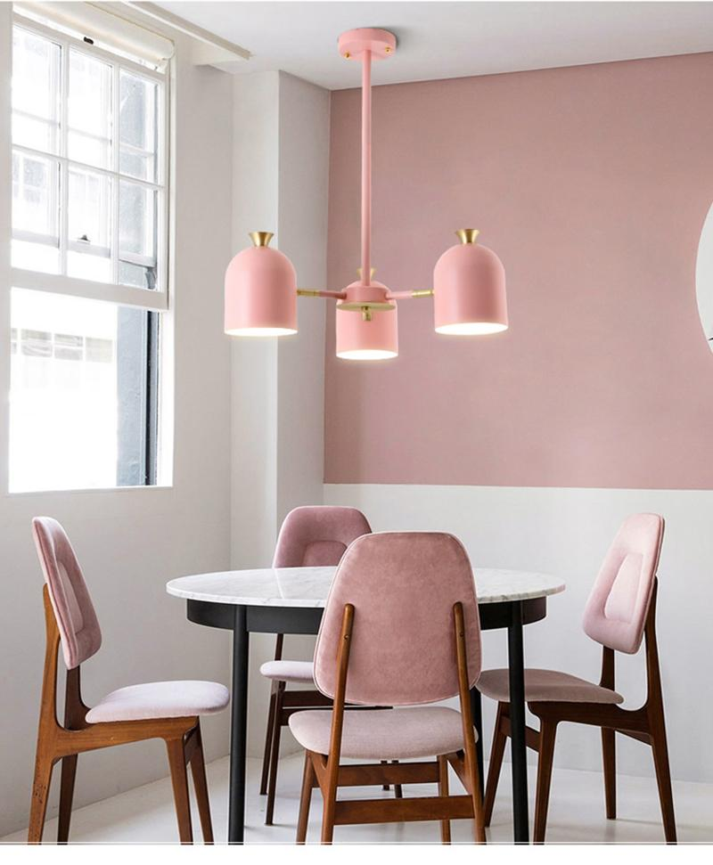 Post modern simple pendant light macaron colorful E27 lamp pink green yellow material metal lovey sweet droplight for foyer bedroom lighting