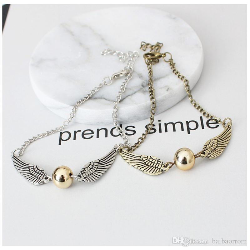 Quidditch golden snitch poche Bracelet Harry charme bracelets ailes Potter rétro vintage ton pour hommes et femmes en gros