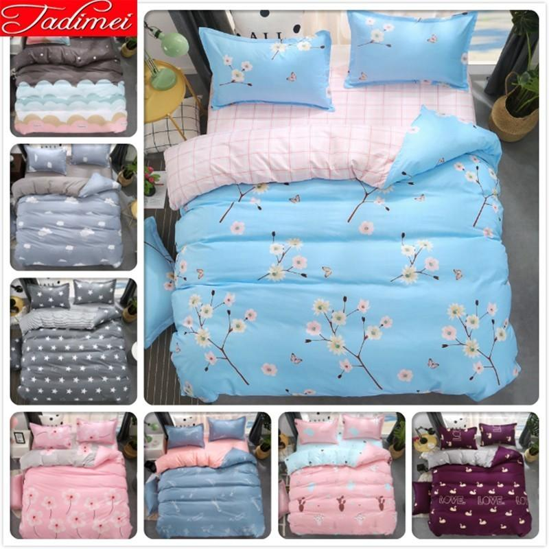 Blue Pink AB Side Flower Pattern Duvet Cover 3/4 Pcs Bedding Set Adult Kids Child Soft Bed Linens Single Double Queen King Size