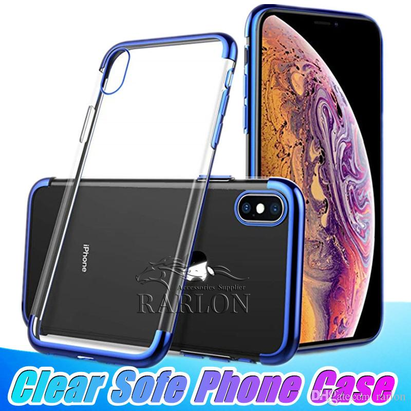 3ab0b8c42c8 Clear View TPU Case Slim Fit Silicone Soft Transparent Cover Plating  Electroplating Edge For IPhone XS Max XR 8 Samsung S10 S10e Huawei Mate  Silicone Cell ...