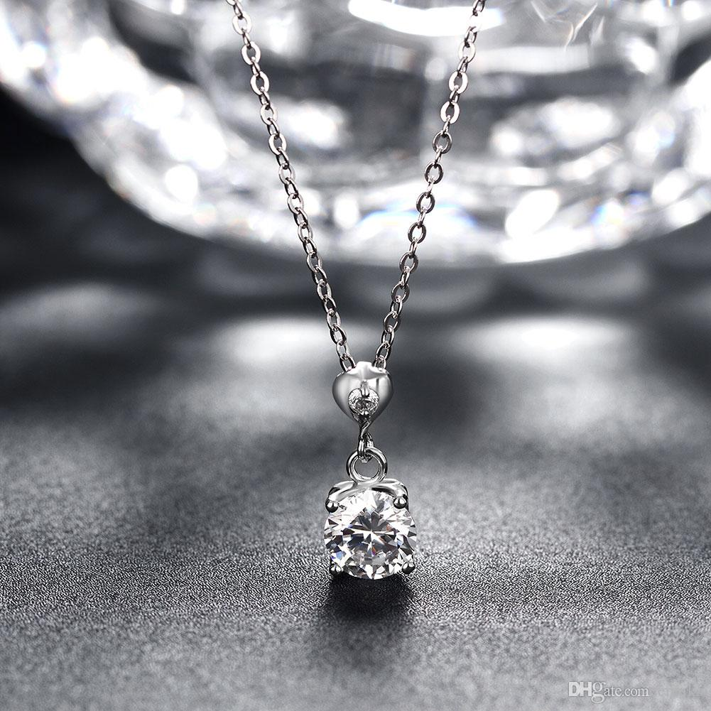 Sterling Silver 925 Chains Pandent Necklace Women Party Jewelry Pure Silver Heart-Shaped Diamond Necklace Good Quality n059