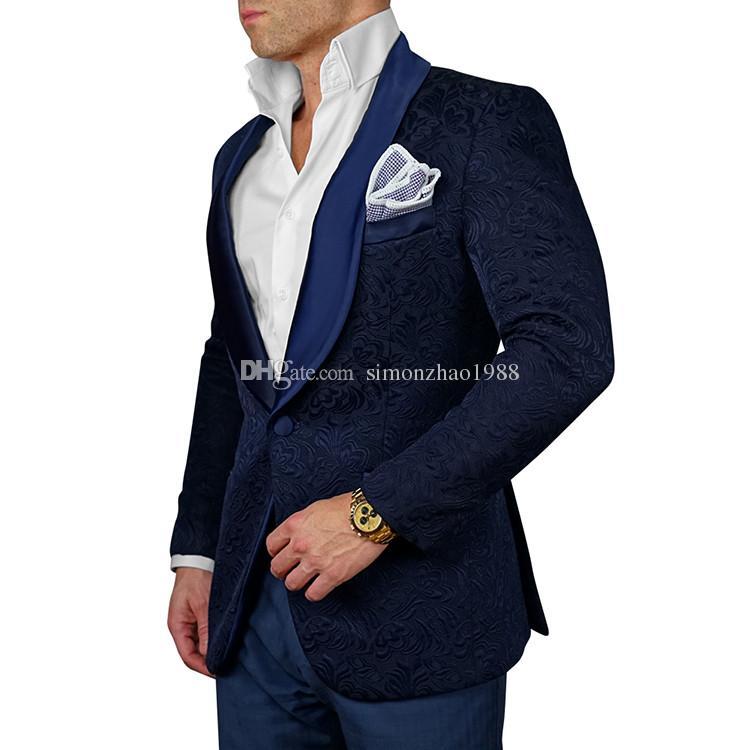 2018 Bleu Marine Hommes Blazer Floral Conceptions Mens Paisley Blazer Slim Fit Costume Veste Hommes De Mariage Smokings Mode Costumes Homme Veste + Pantalon + Bow