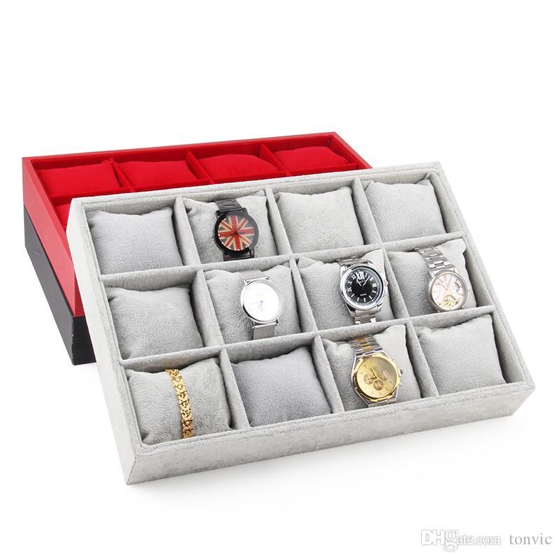 Tonvic черный / красный / серый / Linen Часы браслет дисплея ювелирных изделий лоток стенд держатель с 12шт подушки