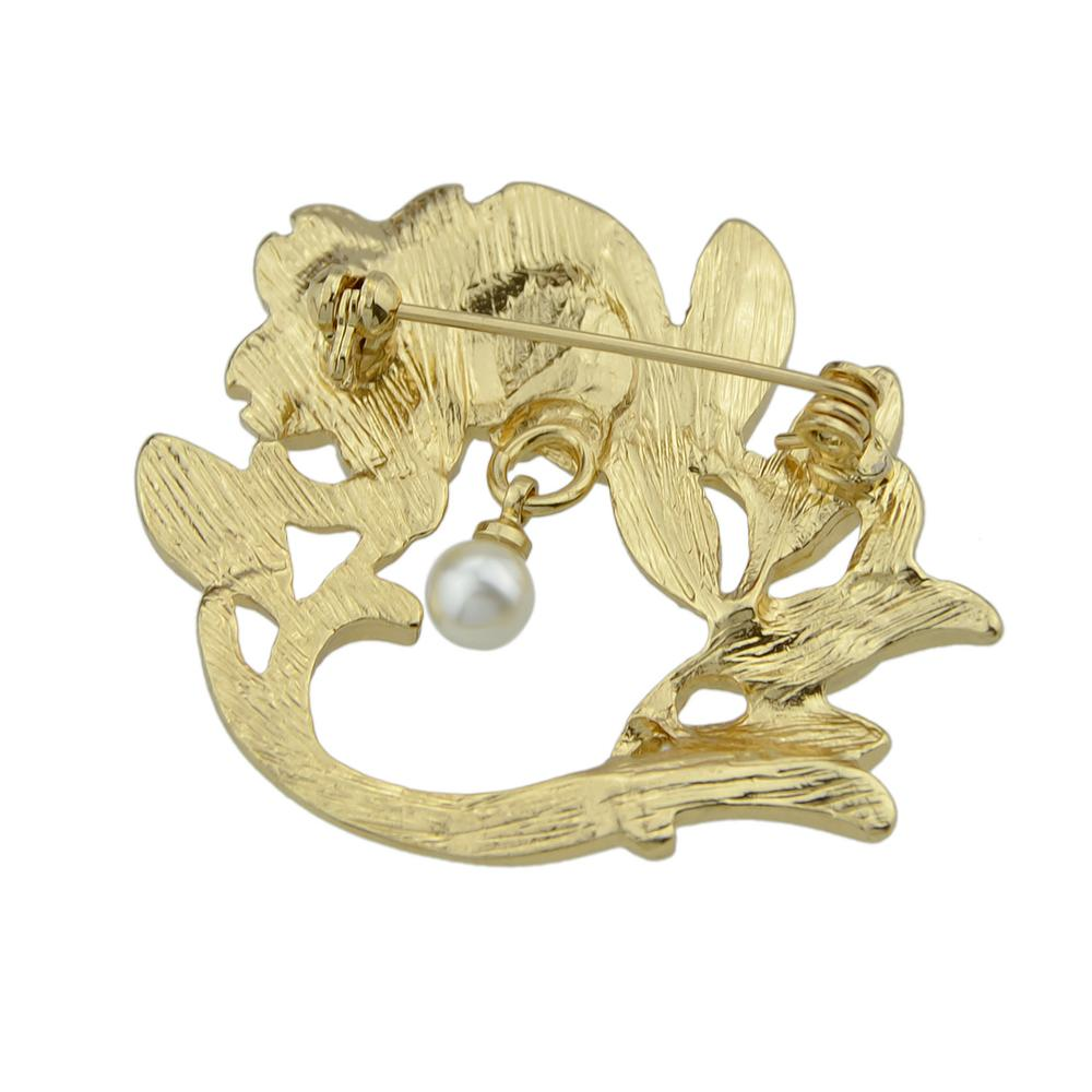 Jufee Fashion Accessories Gold-Color with Simulated-pearl Green White Enamel Leaf Branch Flower Brooches Pin