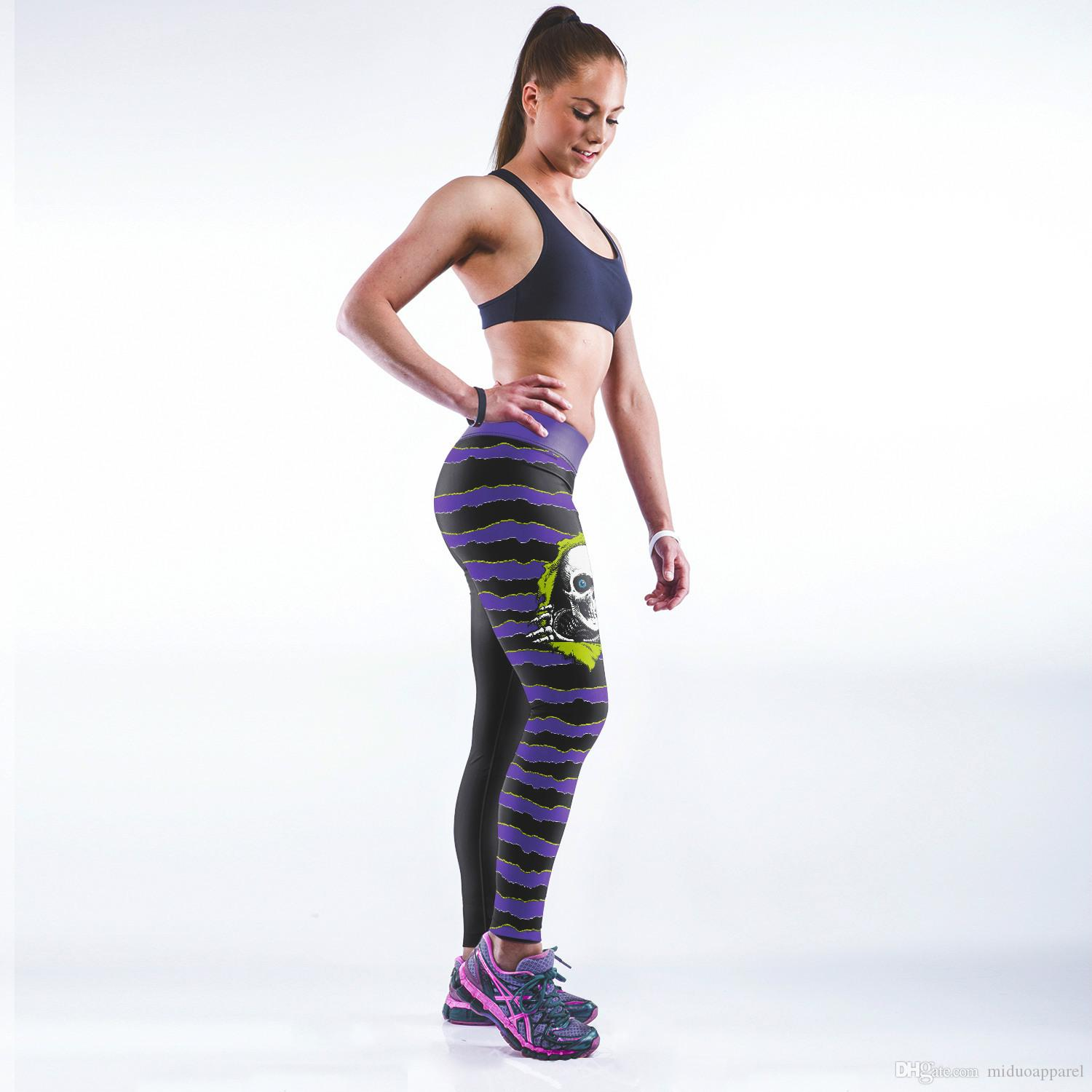 994a3fd935e 2019 Women Fitness Yoga Pants White Tiger Head Egypt Queen Leopard Color  Skull Head Purple Starry Sky Pattern One Size From Miduoapparel