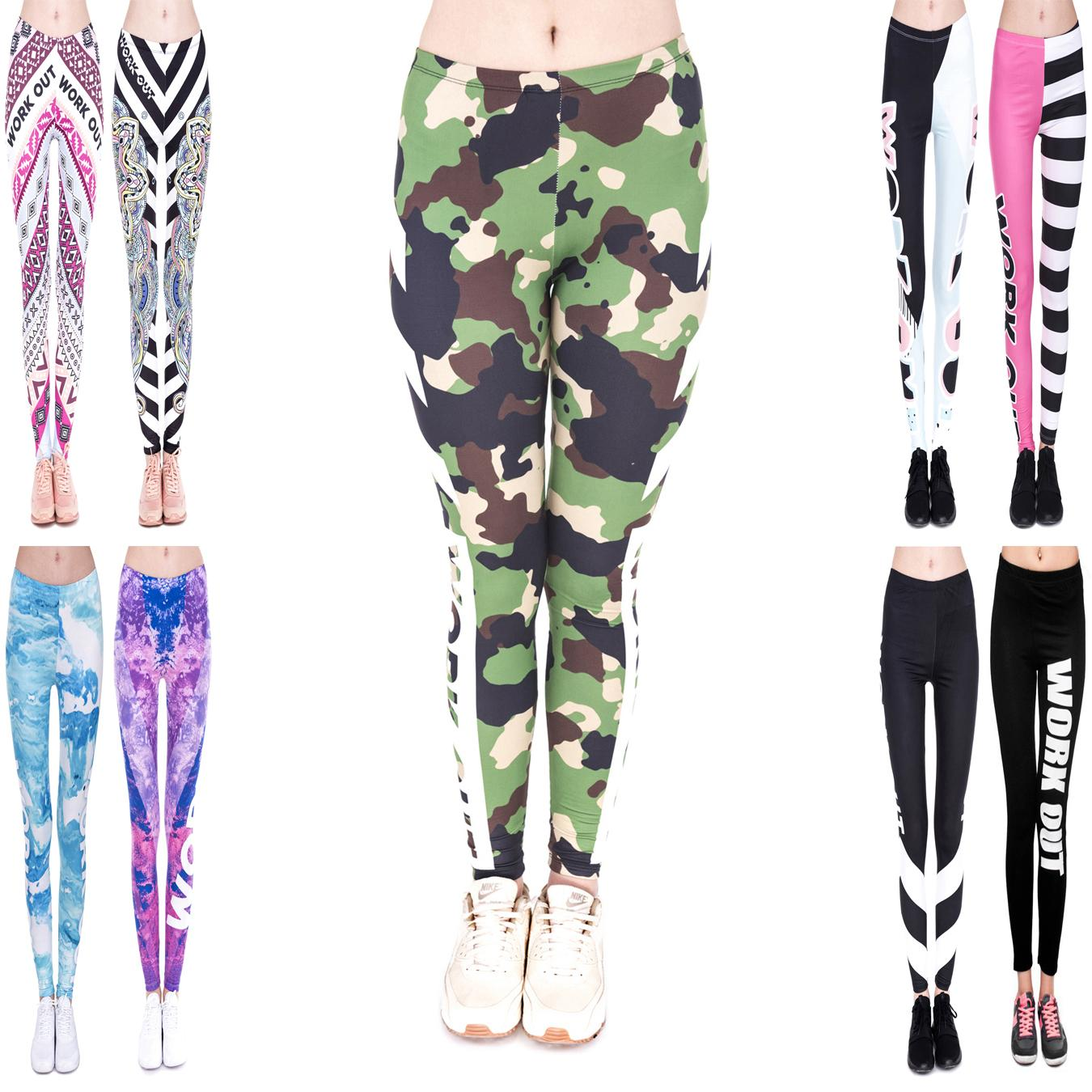Women Leggings 9 Styles Workout Camo Camouflage 3D Graphic Print Lady Capris Soft Yoga Pants Girl Pencil Fit Runner Casual Trousers (JL007)