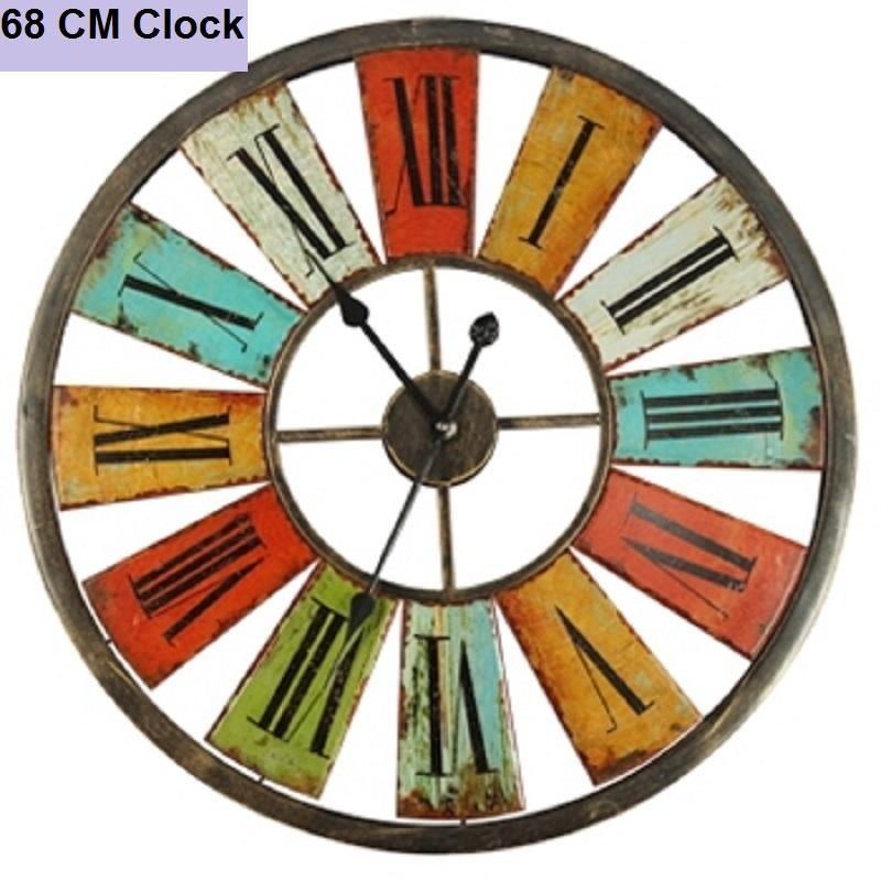 Large Wall Clock Saat Clock Duvar Saati Vintage Roman Numerals Wall
