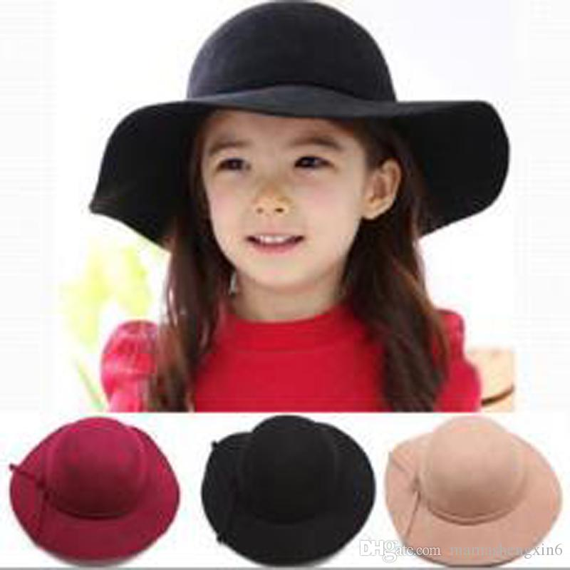 c14ba2b14 New Children Wool Felt Hat Baby Bowknot Girls Bows Hats Big Brim Floopy Cap  Kids Accessories Fedoras Christmas Gift