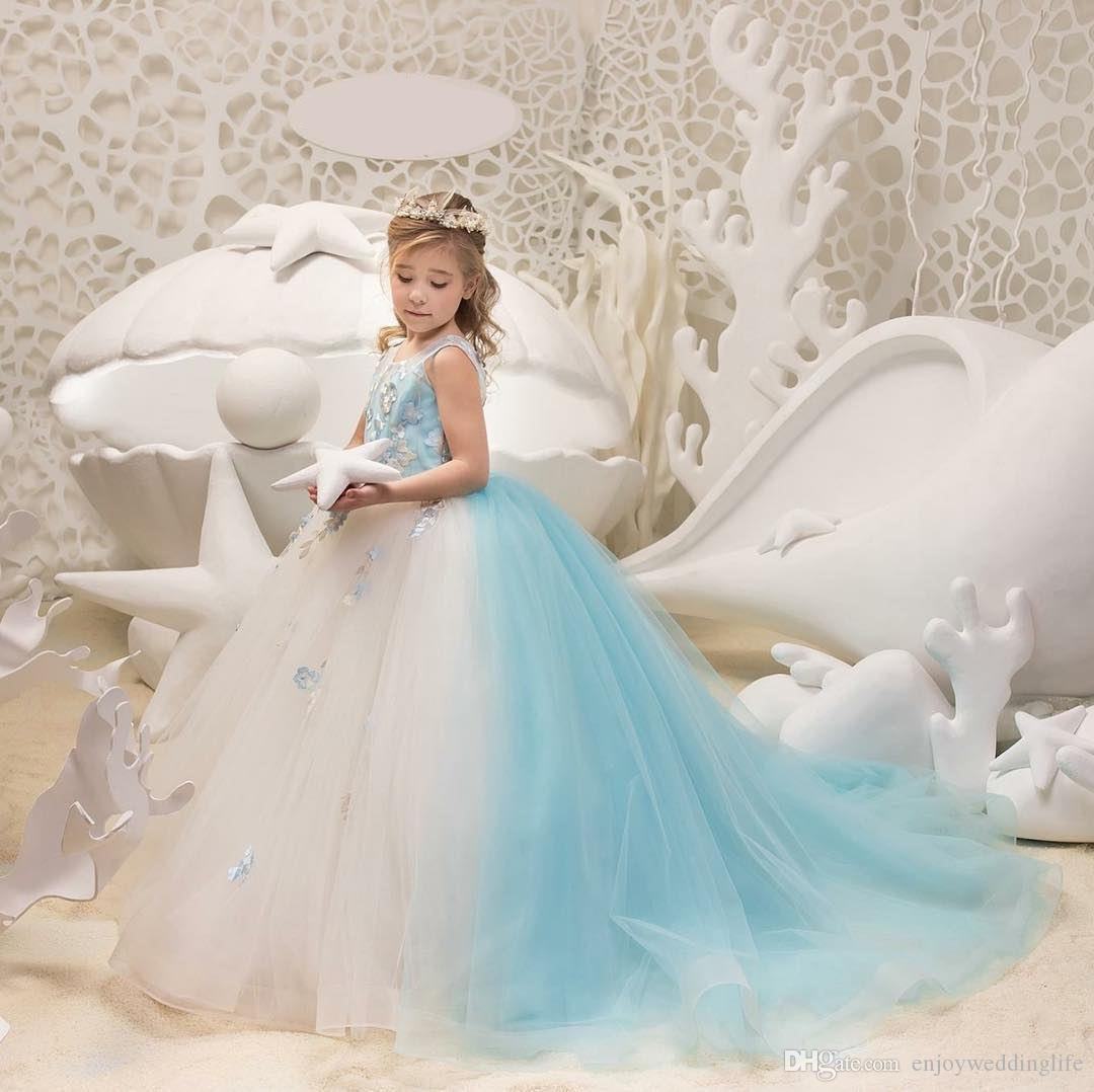 Princesa de dos colores marfil y celeste celeste niñas vestidos del desfile de la joya del cuello flores de encaje vestido de fiesta corsé de tul espalda niñas de las flores vestidos