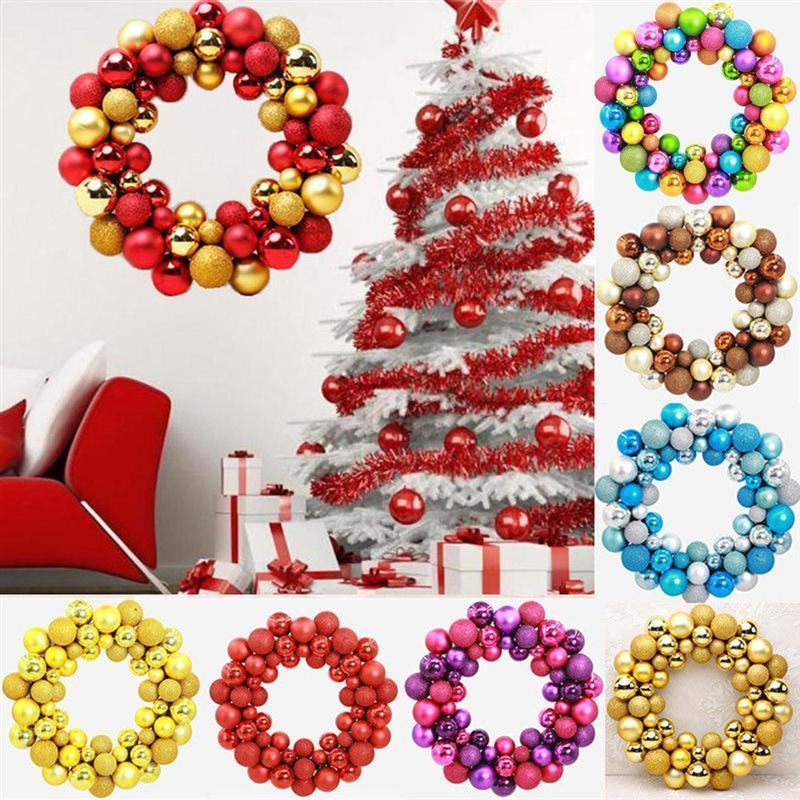 2019 Christmas Wreath Ball Ornaments Shatterproof Front Door Window