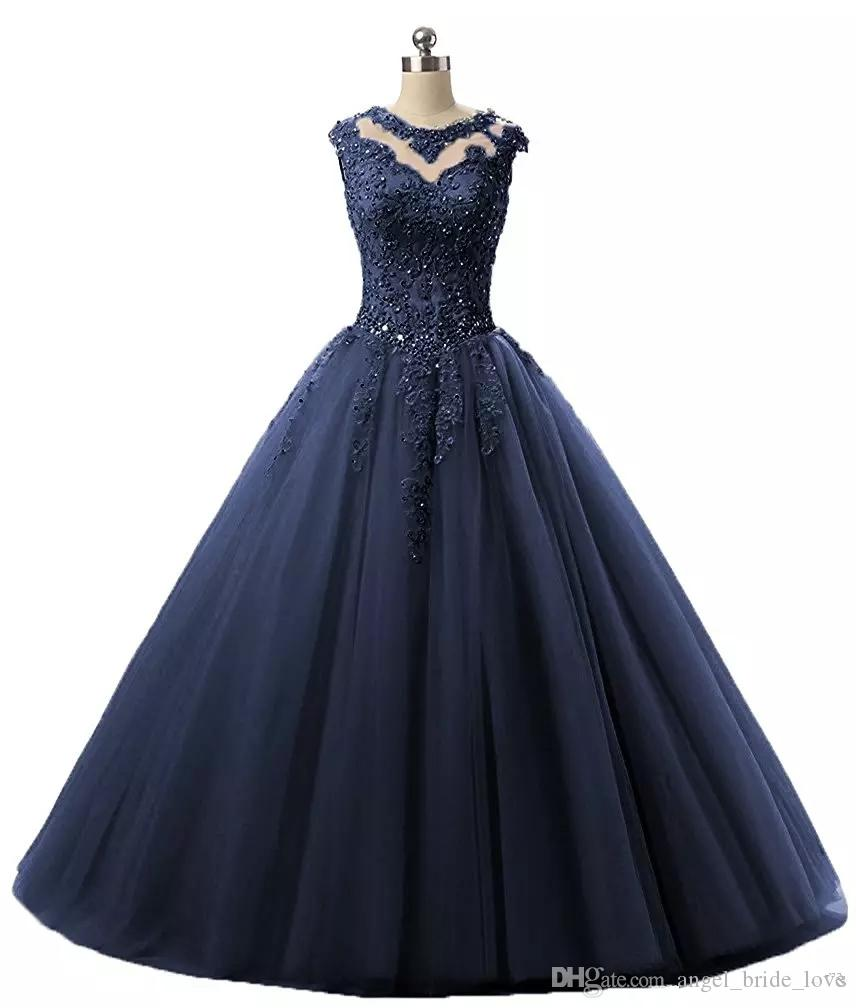 2018 Navy Champagne Vestidos De Quinceanera Dress Masquerade Ball Gowns With Short Sleeves Hollow Back Applique Beaded Prom Sweet 16 Q32