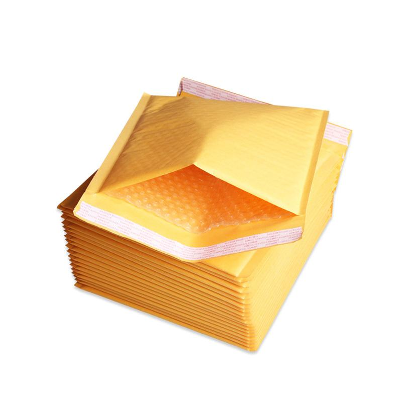 DingSheng 10 sizes yellow self-sealing poly bubble waterproof Kraft paper Transport Packing envelope mailer Wrap bags Packaging Mail Pouch