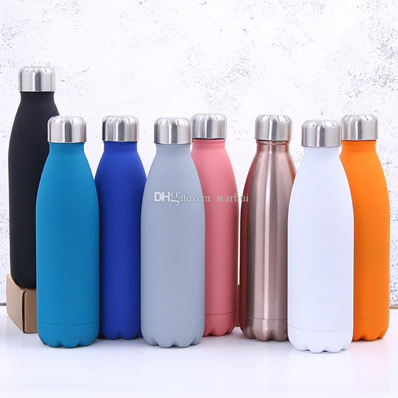 500ML Water Cup Insulation Mug Vacuum Bottle Sports 304 Stainless Steel Cola Bowling Shape Travel Mugs 8 Color Have stock WX9-426