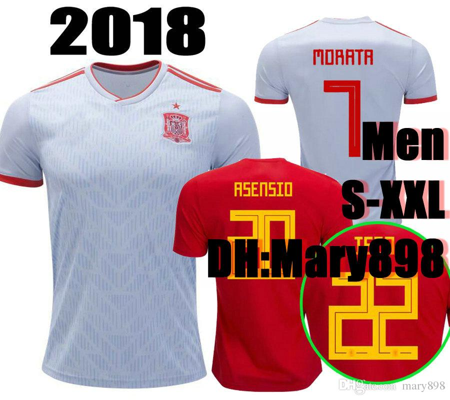 Top Thai Quality 2018 World Cup Spain Home Soccer Jersey 2018 MORATA ... b67d79f8b