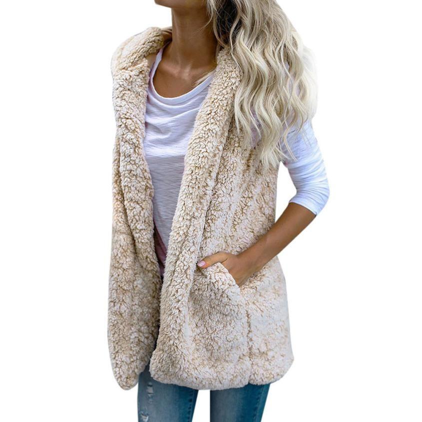 7a1947f1d4902 Womail Womens Vest Winter Warm Hoodie Outwear Casual Coat Faux Fur Zip Up  Sherpa Jacket Vest Cardigan Woman 2018 L30726 Vests   Waistcoats Cheap Vests  ...