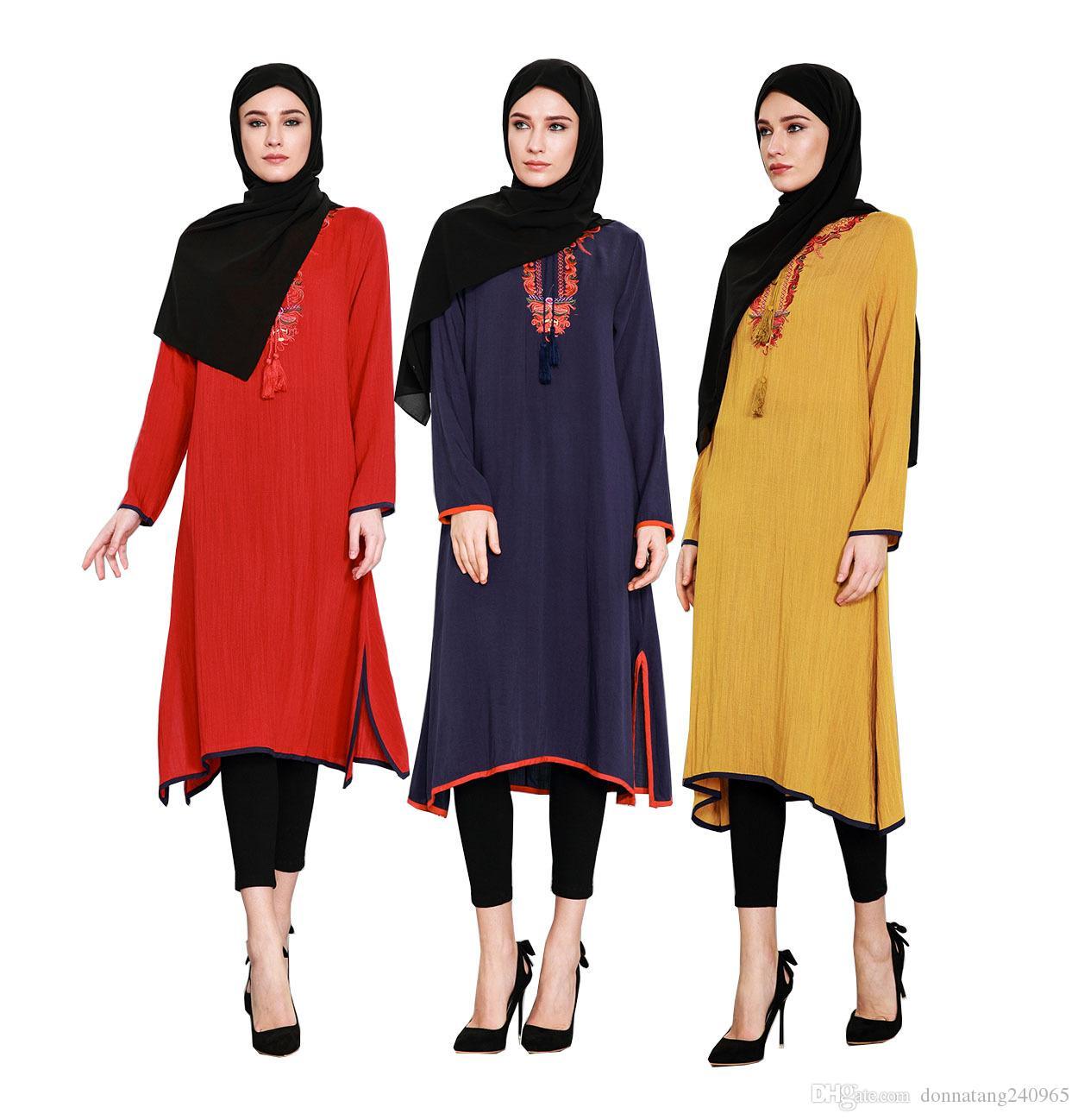 Compre Largas Musulmanes Bordado Malasia Camisas Escote Irregular rvYOrwqR