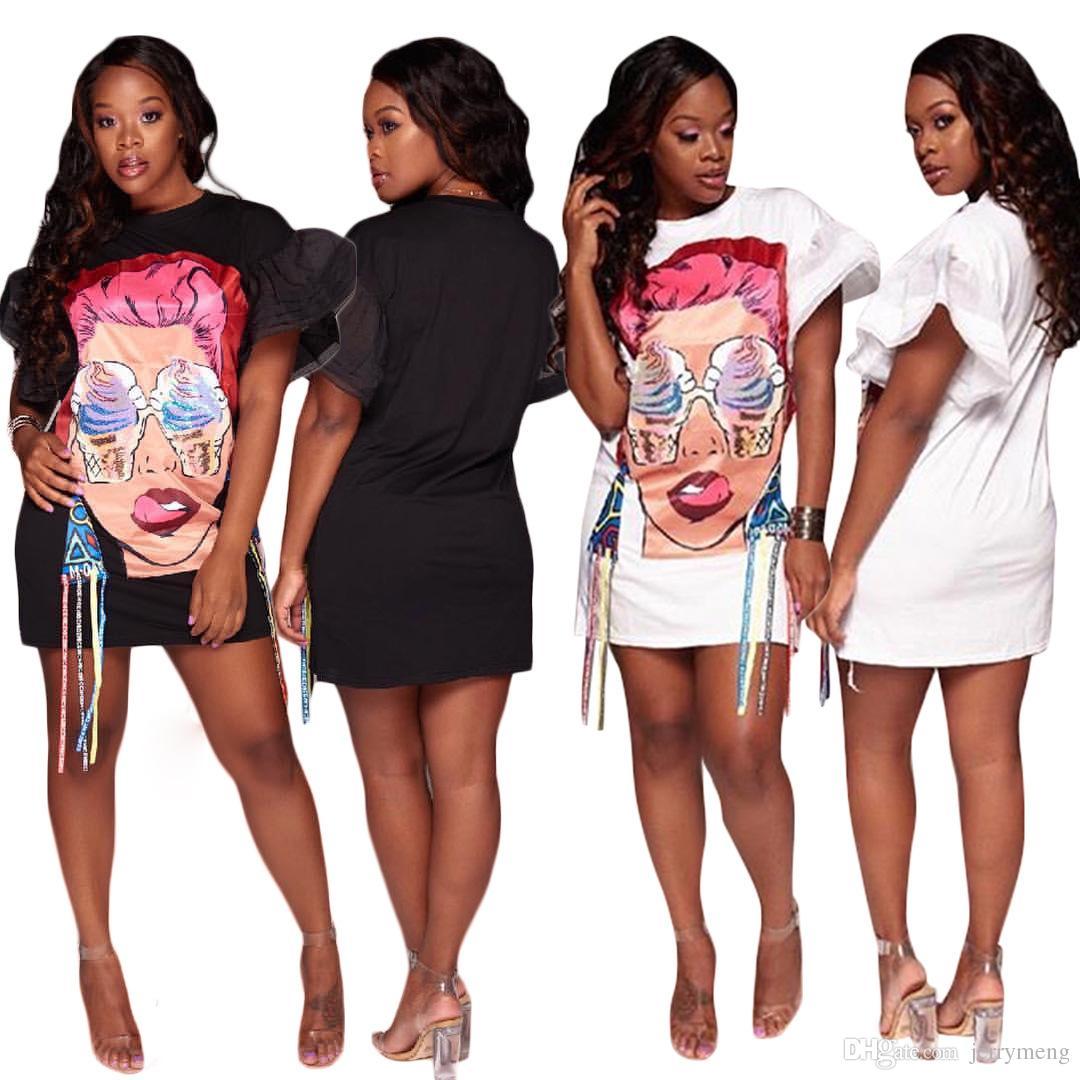 New Fashion Brand Women Clothing Big Sizes Faces Ladies Printing Graffiti Holiday Beach Style Punk Rock Casual Loose Shirt Dress Interesting Tee Shirts Shop