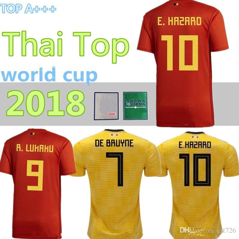 e79cbc2eb 2019 Belgium 2018 World Cup Home Away Red Yellow Thailand Quality LUKAKU  FELLAINI E.HAZARD KOMPANY DE BRUYNE Soccer Jersey Belgium Football Shirt  From ...