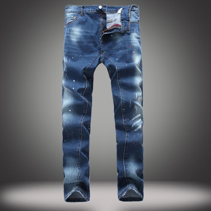Compre 2018 New Brand Super Skinny Stretch Jeans Hombres Pantalones De  Mezclilla De Pierna Recta De Alta Calidad Para Hombre Classic Blue  Scratched Homme ... 0e904316845