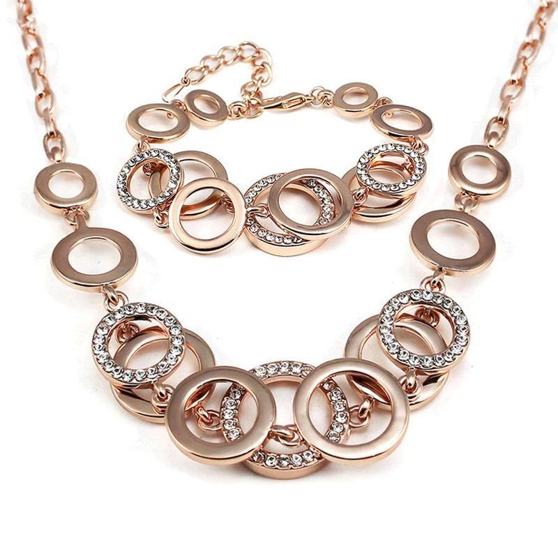 c7cf43f60ad Acheter Luxe Argent Ensembles De Bijoux De Mariage Pour Femme De Mode  Strass Géométrique Circulaire Connecteurs Collier Bracelet Ensembles De   20.73 Du ...