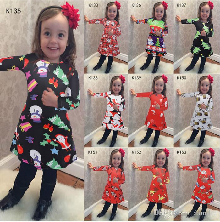 2018 mother and daughter dresses christmas mommy and me clothes outfits long sleeve santa claus snowman elk printed family look mom baby dress from damiliu