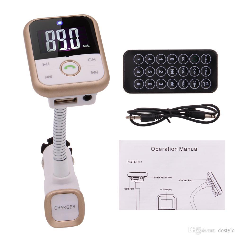 Car MP3 Audio Player Bluetooth Transmisor FM Wireless FM Modulator Radio Adapter Car Kit Manos libres LCD Display Cargador USB y tarjeta TF