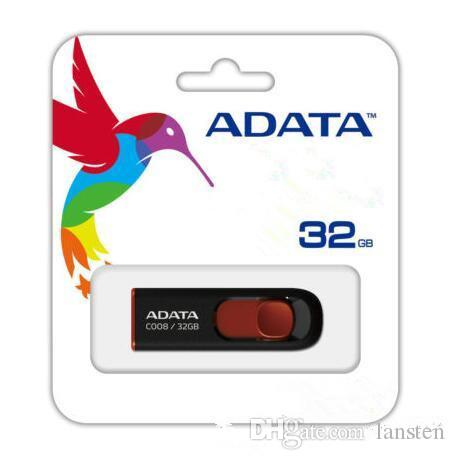 100% real 32gb 16gb 8gb ADATA C008 16GB USB 2.0 Retractable Capless Flash Drive Blue AUV128-16G-RBE