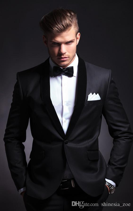Classic Black Groom Tuxedos Groomsmen One Button Shawl Lapel Best ...
