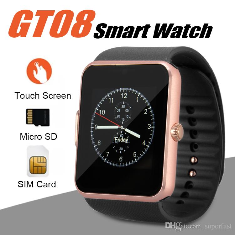 GT08 Smart Watch Bluetooth Smartwatches für Android-Smartphones SIM-Karten-Slot NFC Health Watchs für Android mit Kleinkasten