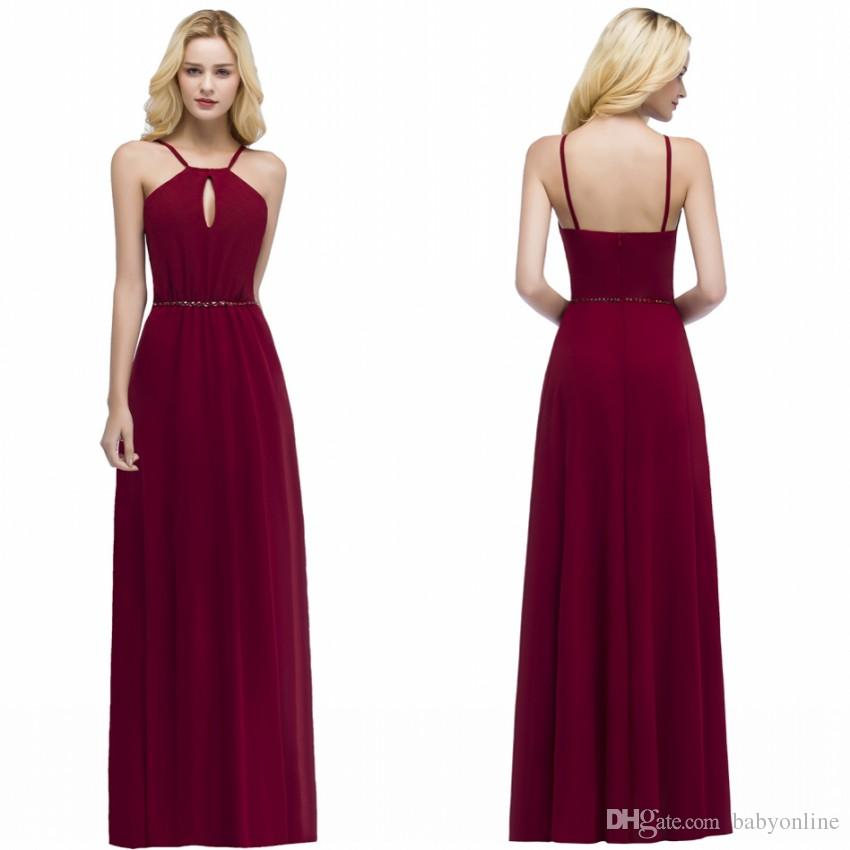 02972a0187 100% Real Made 2018 Burgundy Chiffon Bridesmaid Dresses A Line Halter Neck  Backless Wedding Guest Party Prom Evening Gowns CPS862 Charcoal Bridesmaid  ...
