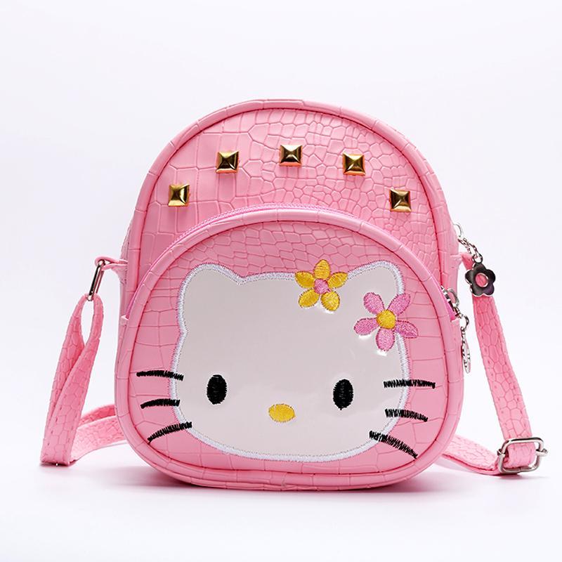 e23a4144b Baby Girls Hello Kitty Pink 2018 HandBags Kids Cat Bag Crocodile Rivet Kids Girl  Handbags PU Crossbody Messenger Bags Student Backpack Fashionable Backpack  ...