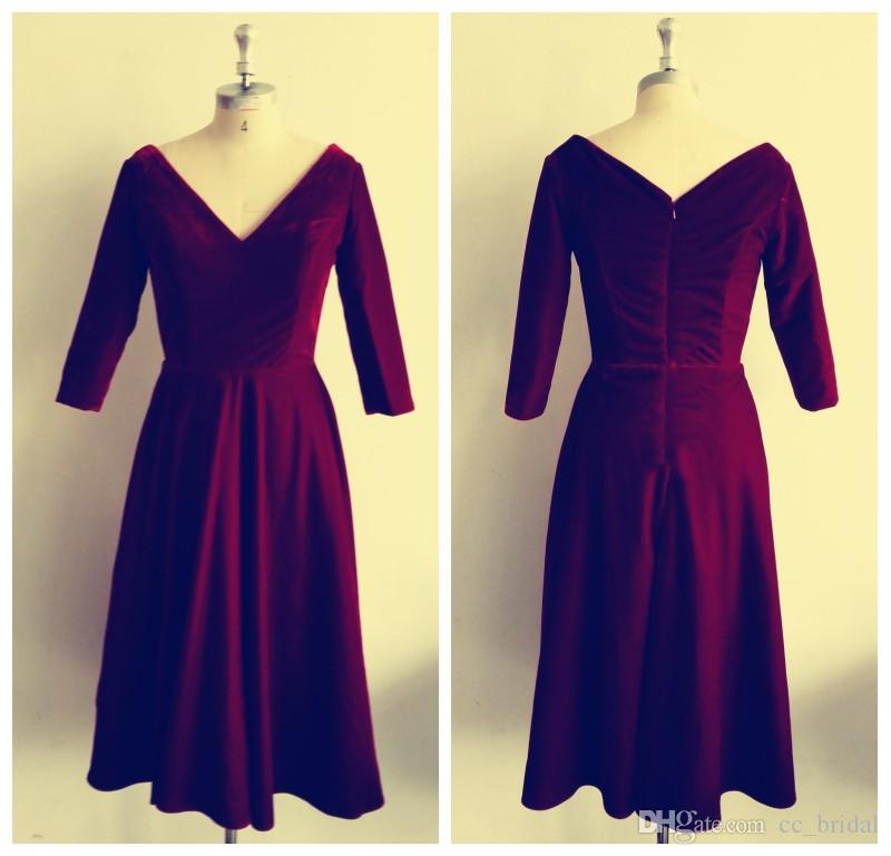 Attractive Burgundy Velvet Bridesmaid Dresses 2018 Sexy Tea Length ...