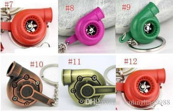 Spinning Turbo Keychain Creative Fans Favorite Sleeve Bearing Turbine Turbocharger Keyring Key Chain Ring Keyfob Car Parts Keychains 13 Colo