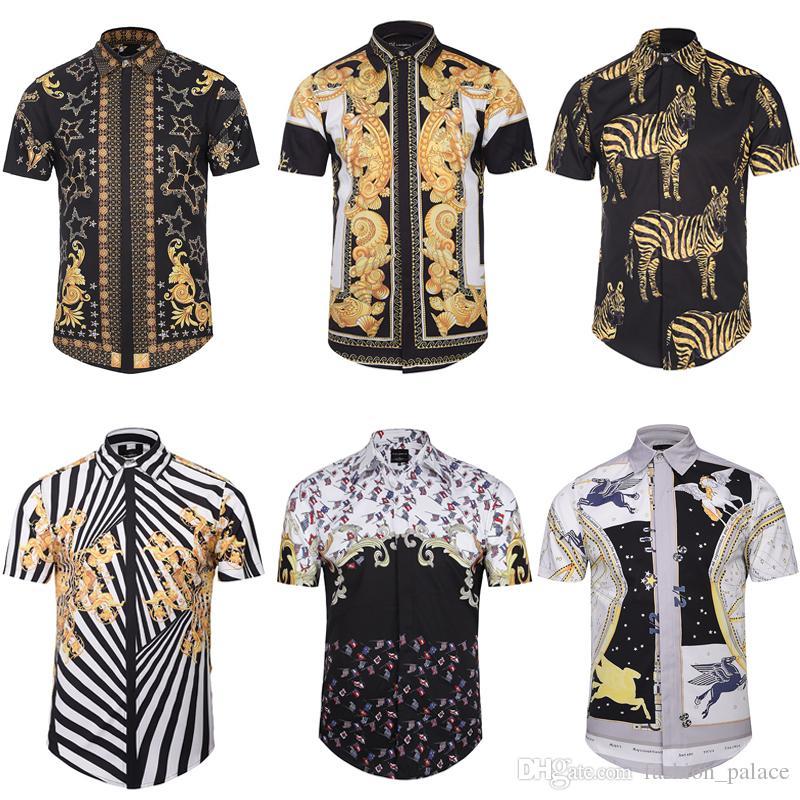 cadcc43794 Men's 3D Print Casual Shirt Striped Paisley Animal Printed Short Sleeve  Shirts Slim-Fit Dress Shirts For Men Plsu Size BLG0408