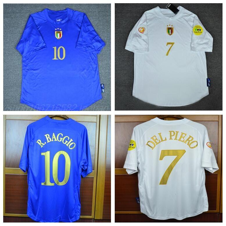 purchase cheap 890cf 9a50b Retro Soccer Jerseys 2004 italy home blue Away white jerseys Del Piero  Pirlo Totti R.baggio Nesta Cannavaro jersey football shirt