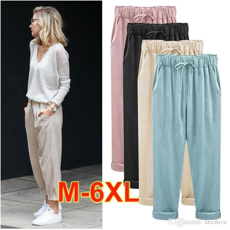 79b510bfa0842 Female Cotton And Linen Nine Harem Pants Plus Size Loose Comfortable ...