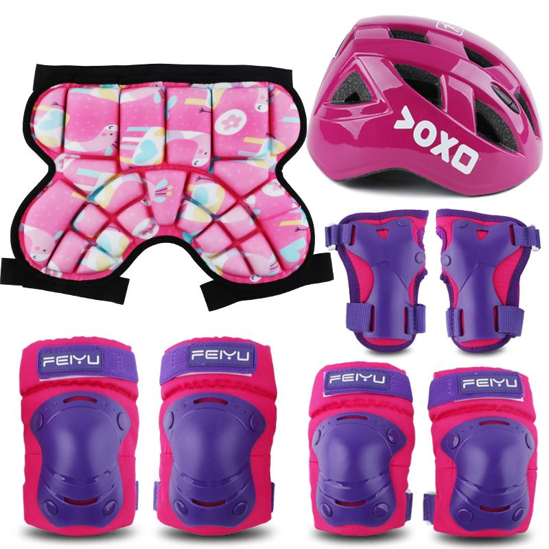 NEW Kids Roller Ice Skating Cycling Protective Gear Children Skateboard Bicycle Helmet Knee Support Elbow Hip Pad 4-8PCS Set