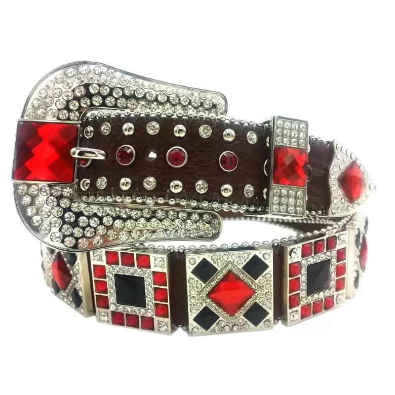 7249a40bb6 Cowgirl Western Rhinestone Belts Women Leather Rhinestone Concho Stud Belts  Cinto De Strass ceinture femme