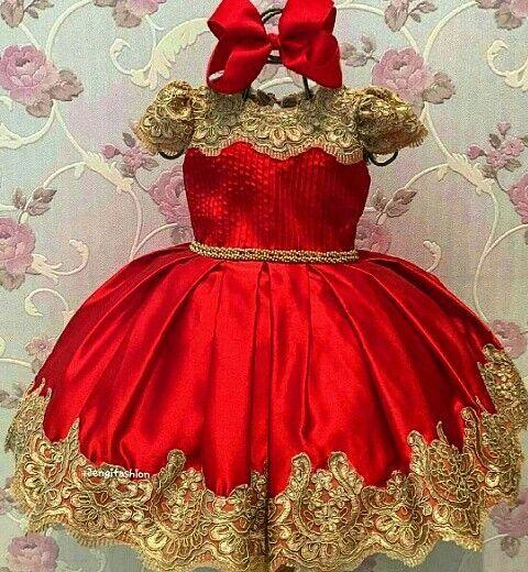 c21afcd191f 2018 Red Puffy Short Sleeve Flower Girls Dresses Gold Appliques Short Girls  Pageant Gown First Communion Dresses Custom Made Flower Girl Petal Dress  Flower ...