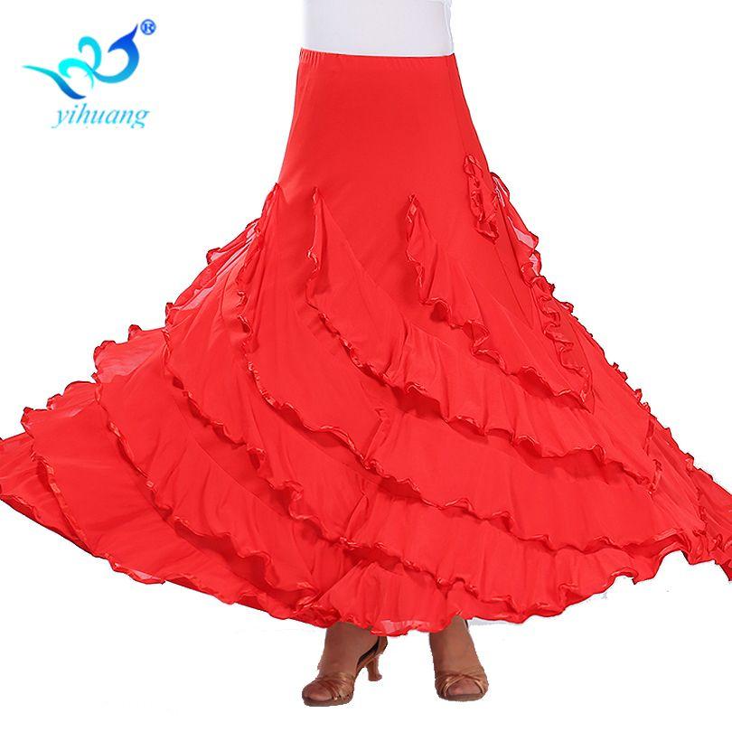 3ac2a1e9fa9f Flamenco Dance Costume Skirt Ballroom Dancing Long Skirts Ladies ...
