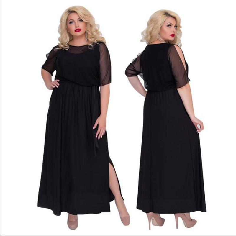 f306b5717db 2019 2018 Elegant Evening Party Dress Black Mesh Sexy Women Dress Plus Size  Summer Long Maxi 5XL 6XL Big Vestidos From Qualityclothes