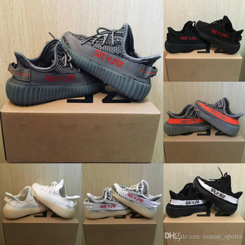 Baby Kids Run Shoes Kanye West SPLY 350 V2 Running Shoes Children Athletic Shoes Boys Girls Beluga 2.0 Sneakers Black Red